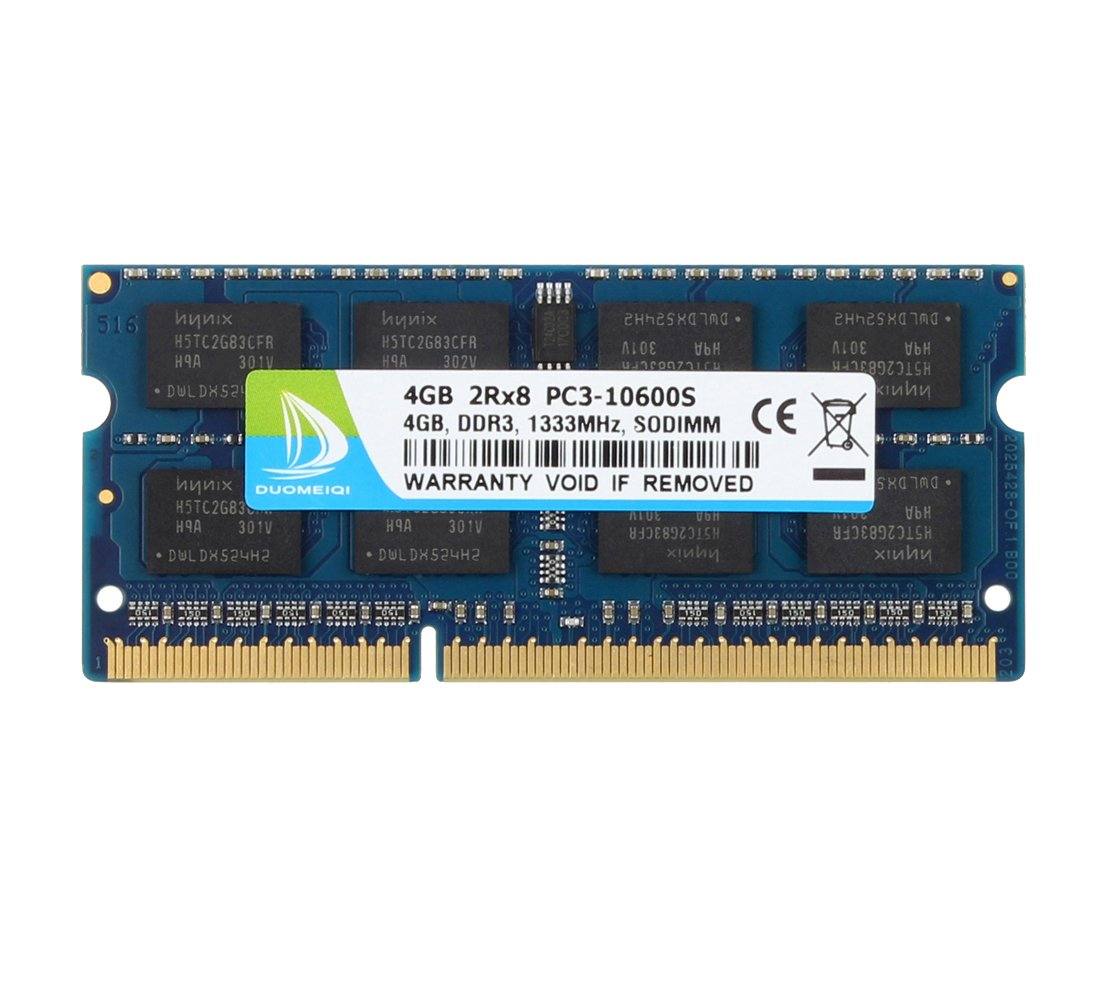 DUOMEIQI 4GB 2RX8 PC3-10600S 2RX8 DDR3 1333MHz SO-DIMM CL9 204 Pin 1.5v Non-ECC, Unbuffered Notebook Laptop Memory RAM Module Compatible with Intel AMD and Mac Computer
