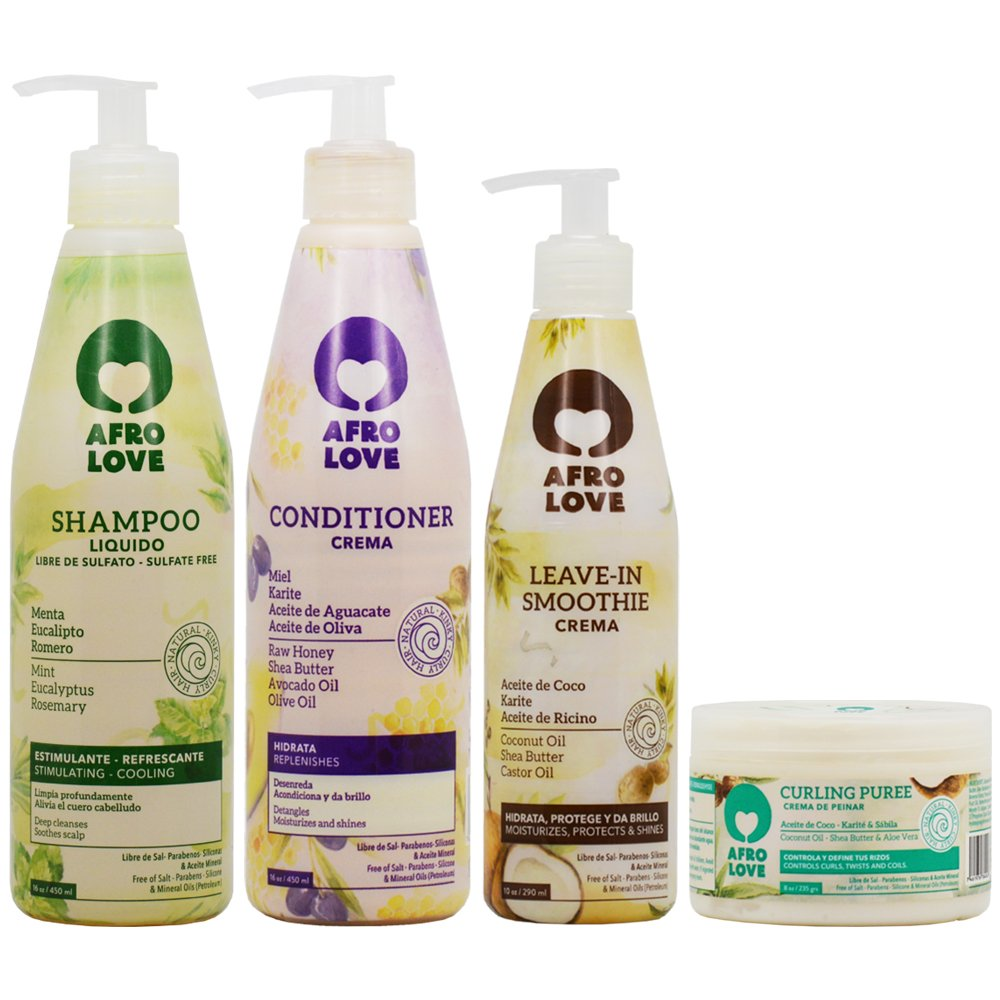 Amazon.com : Afro Love Shampoo + Conditioner + Leave-in Smoothie + Curling Puree