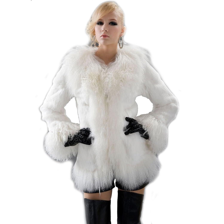 URSFUR Women's Rabbit Fur Mongolian Sheepskin Coats Fur Jackets at ...