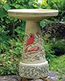 Cardinal Handcrafted Clay Birdbath – Made in the USA For Sale