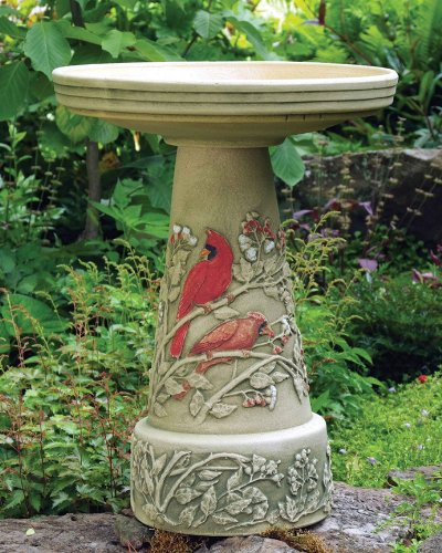 Cardinal Handcrafted Clay Birdbath – Made in the USA by In the Garden and More