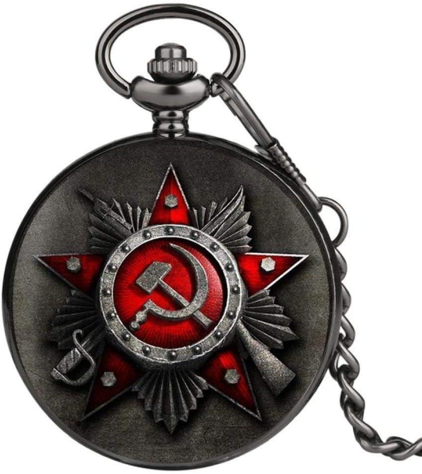 ZHAOXIANGXIANG Reloj De Bolsillo,Vintage URSS Insignias Soviéticas Martillo De Hoz Estilo Reloj De Bolsillo De Cuarzo Hombres Mujeres Plata Rusia Emblema Comunismo Colgante Regalos