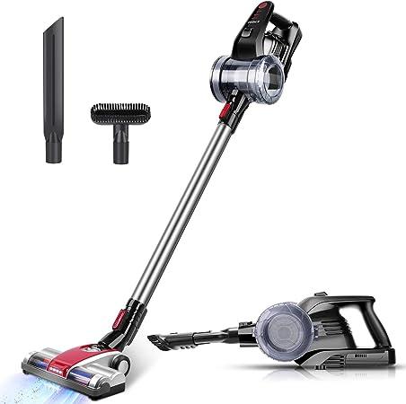 ELEHOT - Aspirador 2 en 1 sin bolsa y sin cable, 9 Kpa Akk con 3 accesorios, soporte para pared, embalaje: Amazon.es: Hogar
