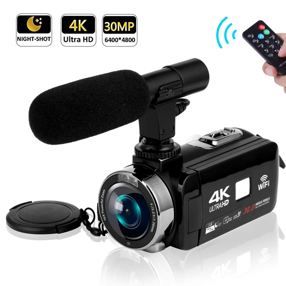 Camcorder Video Camera 4K 30MP WiFi Night Vision Camcorder Vlogging Camera Blogging Camera 16x Digital Camera Vlog Video Camera Camcorder with Microphone by SEREE