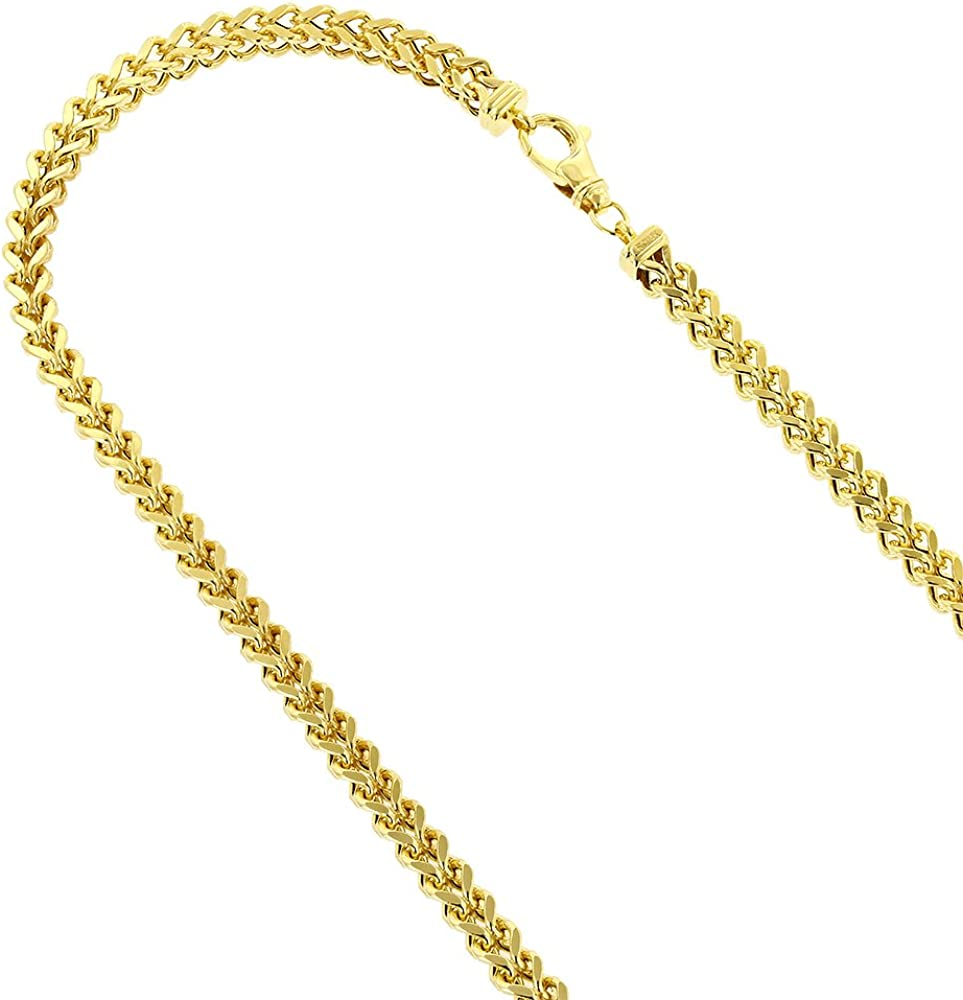 14KT GOLD HOLLOW SQUARE WHEAT CHAIN WITH LOBSTER LOCK SQUARE WHEAT CHAIN 16 INCHES LONG