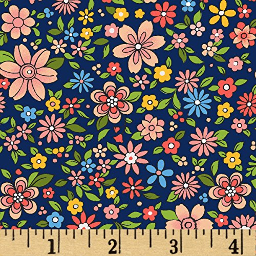 Floral Rose Fabric (Oasis Fabrics Boho Chic Small Floral Navy/Multi Yard)