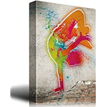 wall26 Colorful Hip Hop Dancer on a Brick Wall Background - Canvas Art Home Decor - 12x18 inches