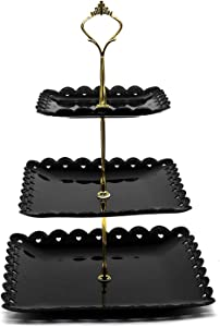 3-Tier Dessert Stand Fruit Plate Candy Cupcake Serving Tray Square Plastic for Wedding Birthday Party Home Baby Shower Halloween Decoration Black (Black)