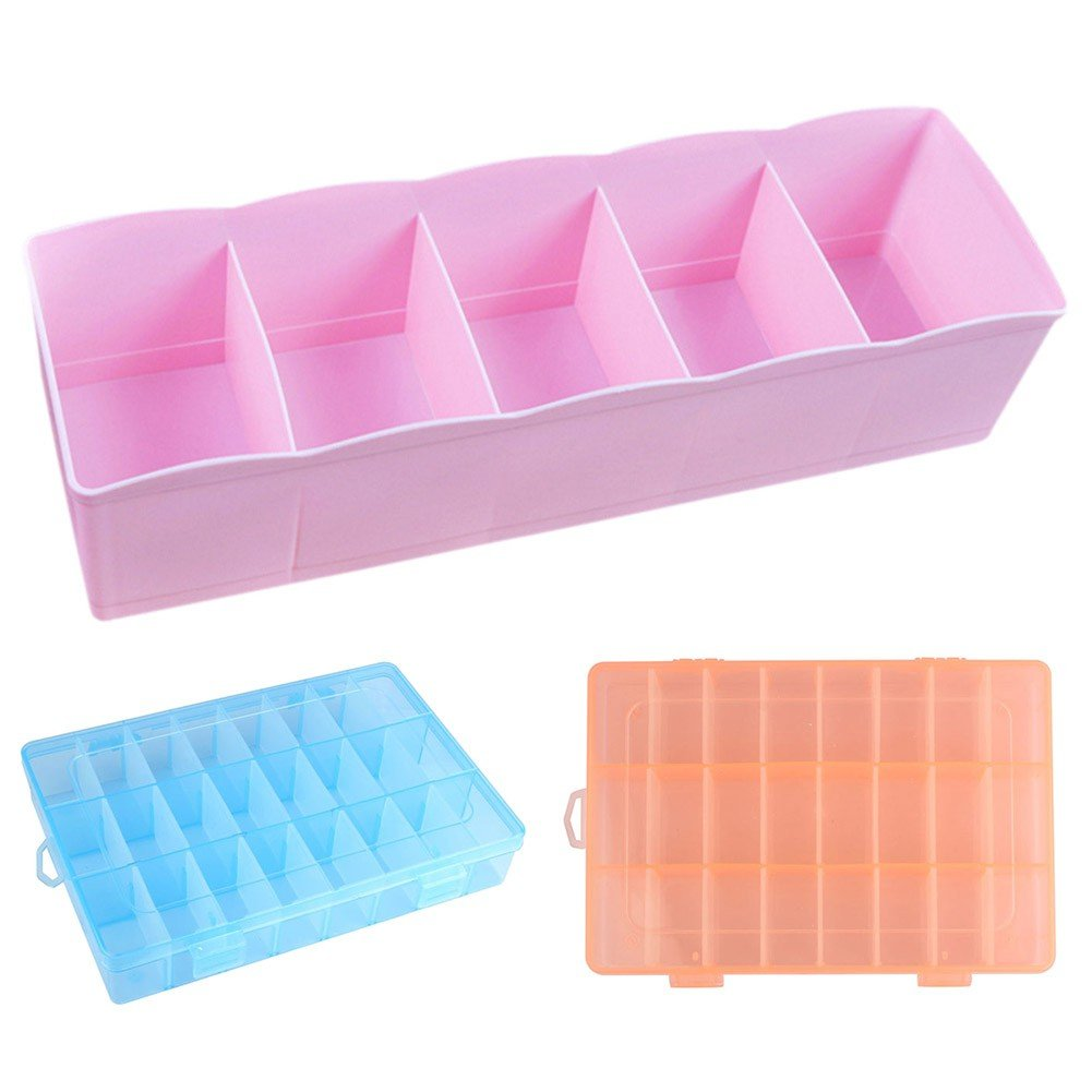 Caja 5 compartimentos para calcetines Utensilios Colorante uñas Tensiómetro medicinal Multipurpose Color Rosa: Amazon.es: Hogar