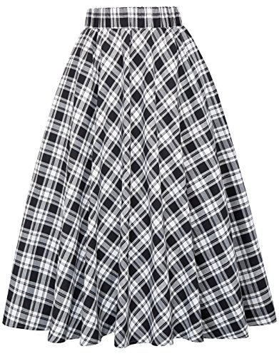 Black and White Plaid A-Line Skirt for Women Size S KK495-2