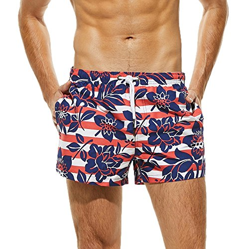 Fashion Casual Sports Plus Size Abdominal Muscles with Sunscreen Printing Men's Boxer Swimming Trunks Beach Pants ()