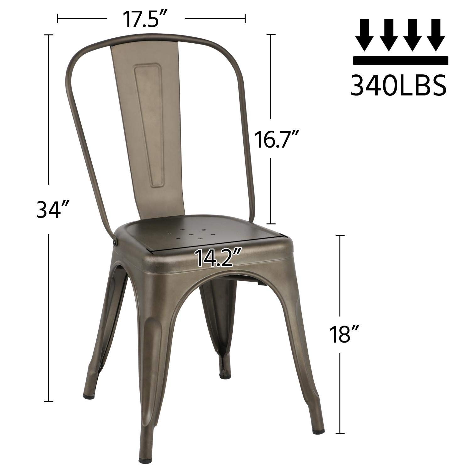 Yaheetech Iron Metal Dining Chairs Stackable Side Chairs with Back Indoor-Outdoor Classic/Chic/Industrial/Vintage Bistro Café Trattoria Kitchen Gun Metal,Set of 4 by Yaheetech (Image #2)