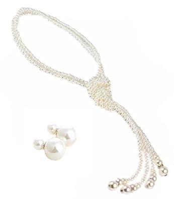 56a07ffc85151  サラローズ  ロング パール 真珠 ネックレス 2連 ホワイト お洒落 ファッション 小物 レディース ジュエリー アクセサリー