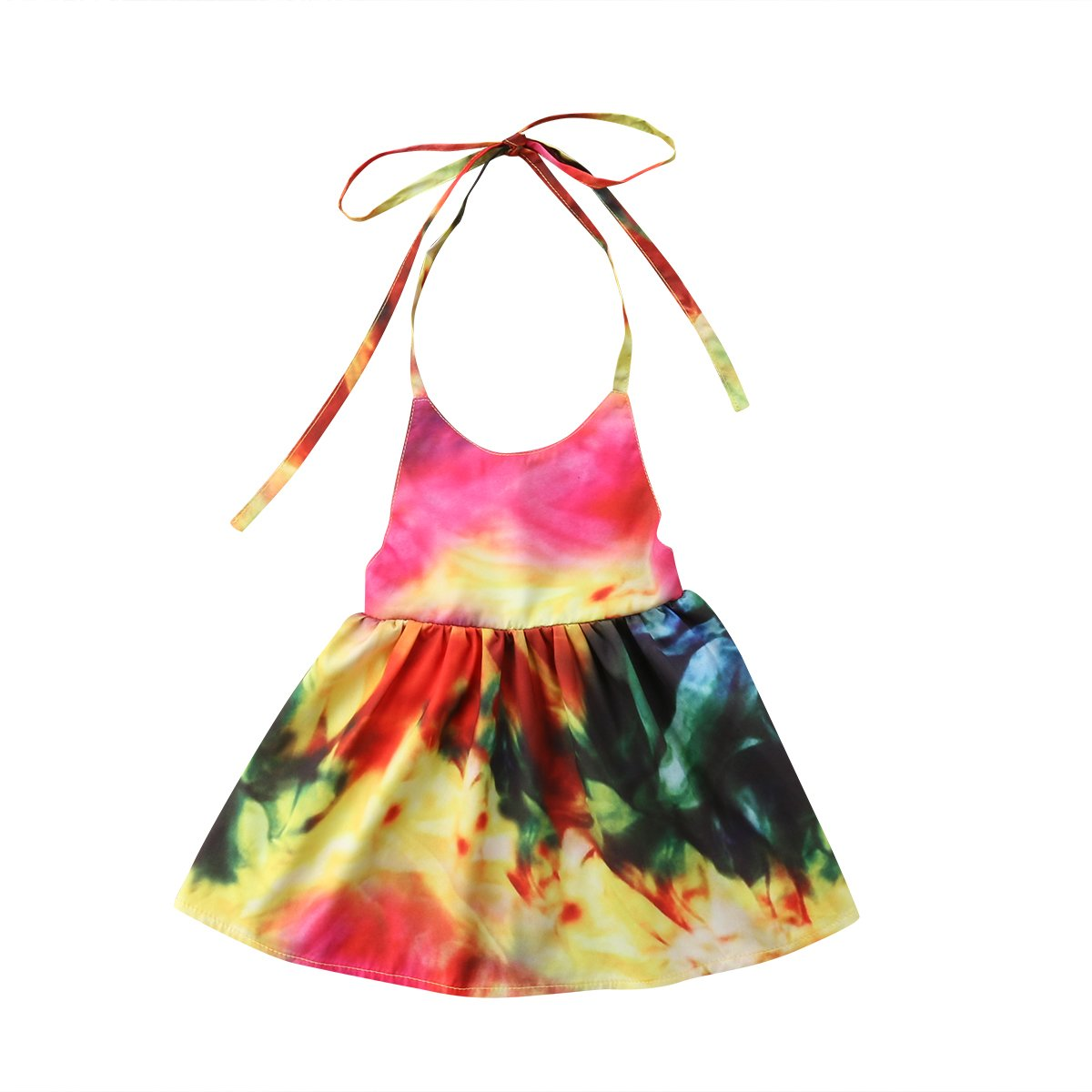 Mubineo Toddler Girl Baby Kids Colorful Summer Halter Fashion Backless Dress Sundress