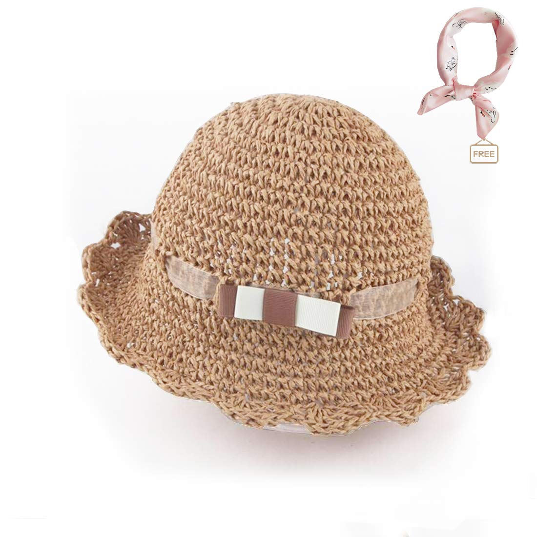 Floppy Foldable Beach Sun Protection Hat with Wide Brim//Handmade Straw Hat for Little Girl Baby Girls Summer Straw Hat