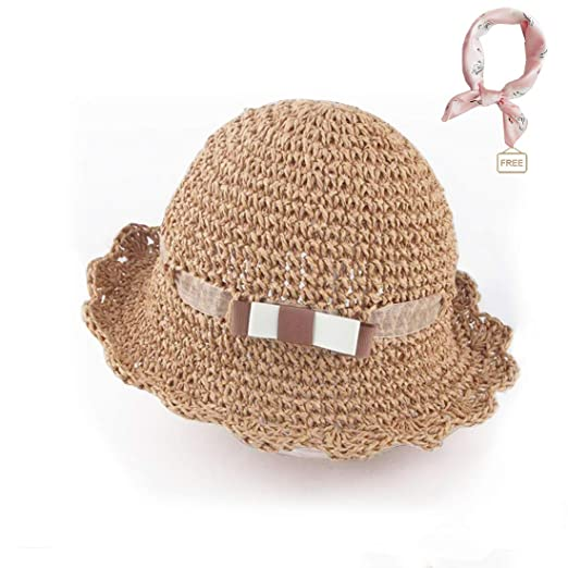5e5c70c8d50a6 Amazon.com  Baby Girls Summer Straw Hat Floppy Foldable Beach Sun  Protection Hat with Wide Brim Handmade Straw Hat for Little Girl (Bowknot  ,52cm  Clothing