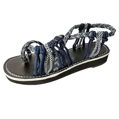 4fdd9d358586 Memela Clearance sale Women s Flat Sandals Braided Strappy Flat Y-Strap  Flip Flop Shoes Casual