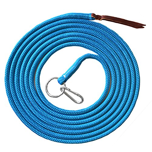 """Knotty Girlz 9/16"""" Double Braid Polyester Yacht Rope Natural Horse Training Line, Longline/Lunge Line 22ft. Yacht Rope with O Ring and Carabineer"""
