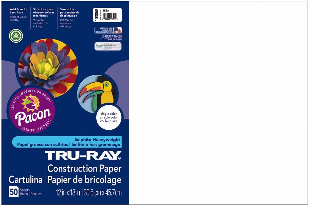 "B00006IDOT Tru-Ray Heavyweight Construction Paper, White, 12"" x 18"", 50 Sheets 61A6KAPgleL"
