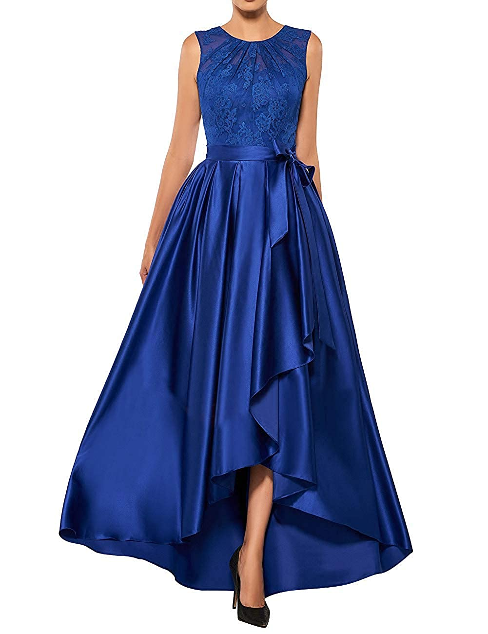 Royal bluee JINGDRESS Satin Mother of The Bride Dresses High Low Formal Evening Party Gowns for Wedding