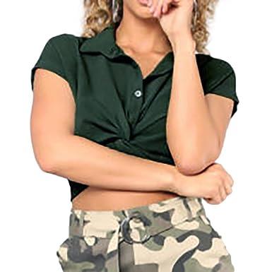 ManxiVoo Women Twist Knot T-Shirt Short Sleeve One Cold Shoulder Blouse Casual Tee Shirt Tops