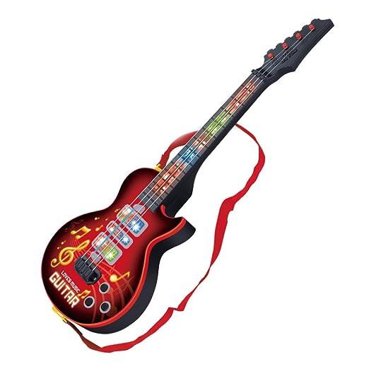 YAKOK 4 Cuerdas Guitarra Electrica Niños Guitarra Bebe Juguete para Niños y Niñas 2-5 años (Rojo): Amazon.es: Juguetes y juegos