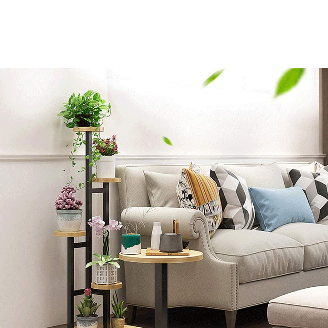Flower Shelf Sofa Side Combination Shelf Creative Coffee Table Multi-layer Indoor Space Sofa Side Several Combination Racks Wrought Iron Flower Pot Rack ( color : Black Frame+Light Walnut Swatch ) by YONGYONG (Image #3)