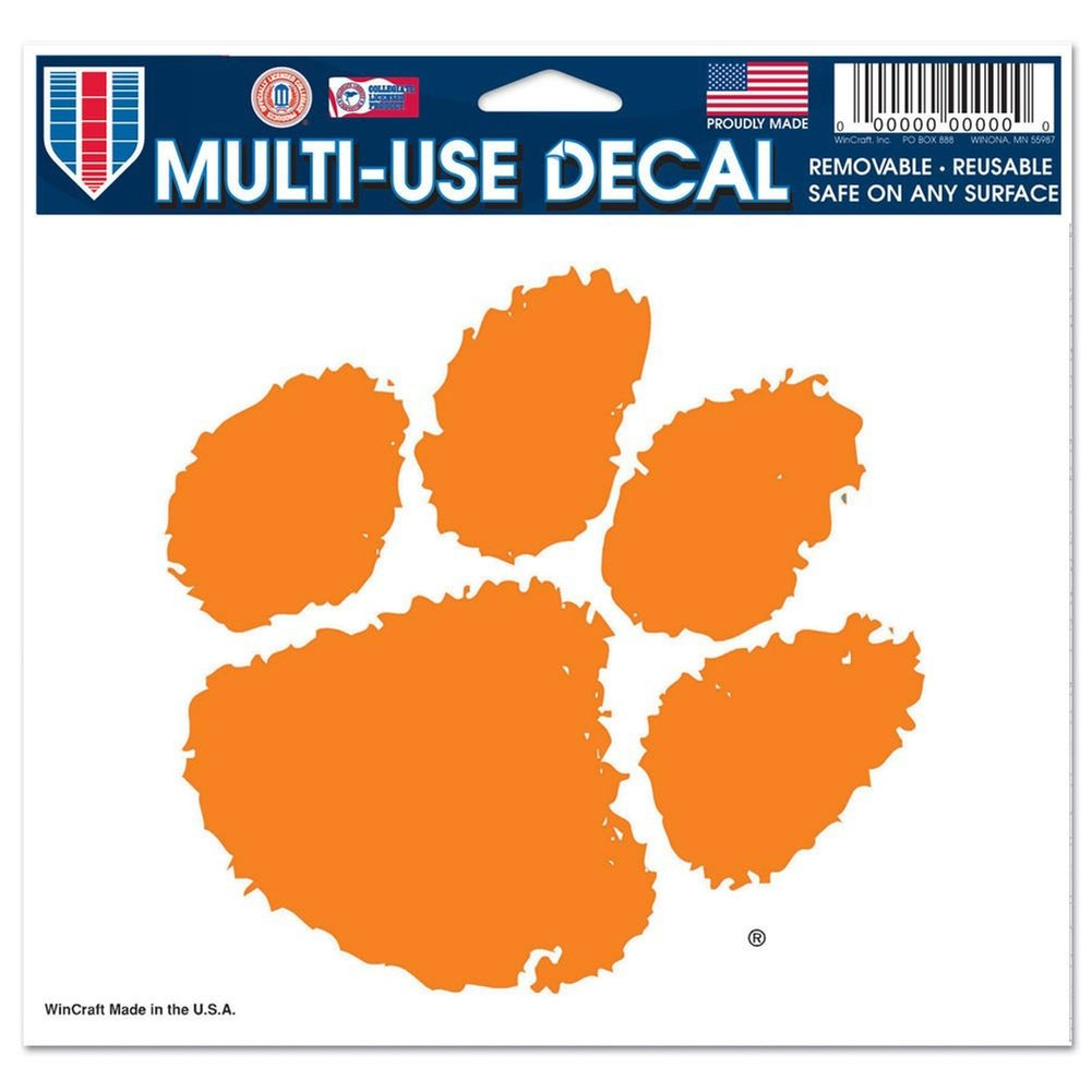WinCraft NCAA Clemson University Multi-Use Colored Decal, 5'' x 6''