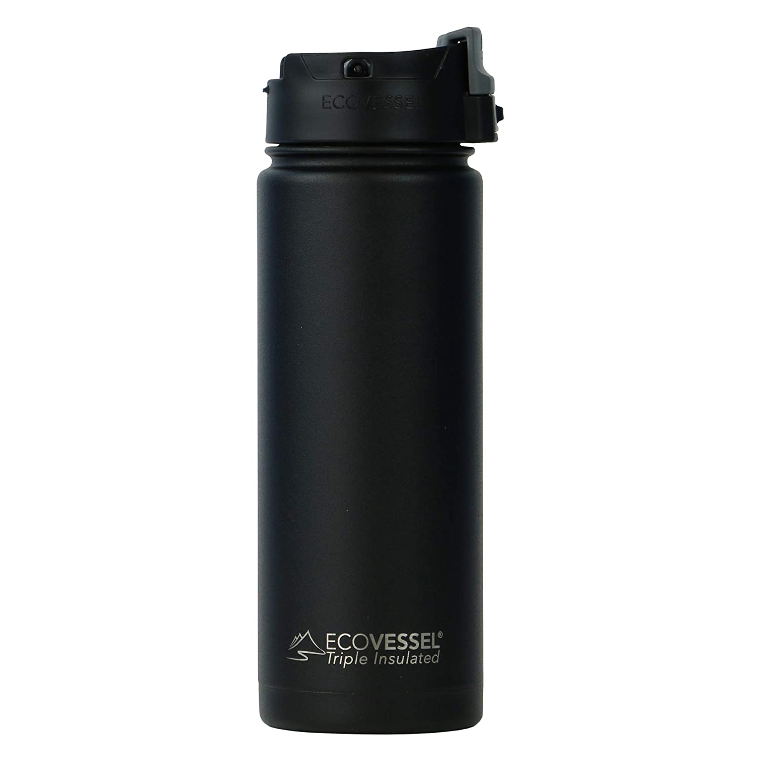 EcoVessel PERK Vacuum Insulated Stainless Steel Coffee & Tea Travel Bottle with Push Button Locking Top - 16 oz Tumbler Mug