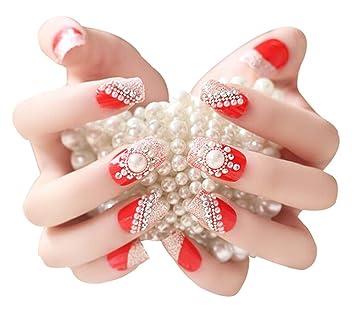 2 cajas (48 piezas) boda hermoso estilo DIY 3d diseño uñas postizas, color rojo: Amazon.es: Belleza
