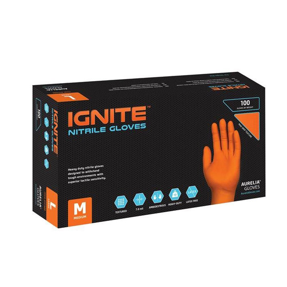 Aurelia Ignite, Orange Heavy-Duty Nitrile Gloves, 7.0 Mil Thick, Size: X-Large (90 Count Box)(Case of 10)