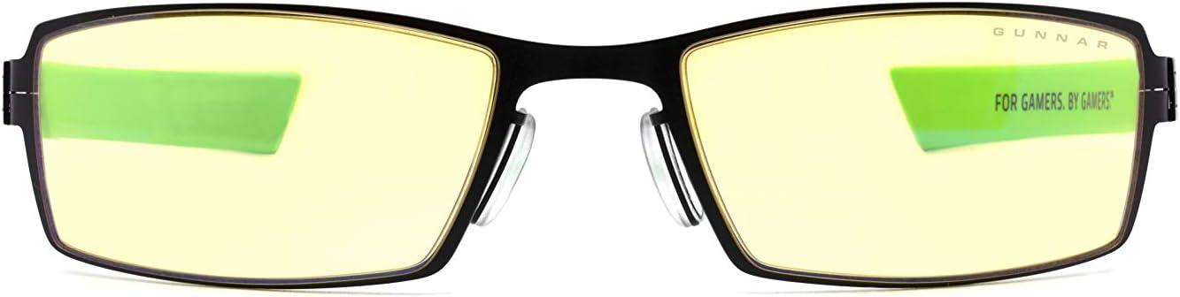 Gafas GUNNAR para juegos y computadoras | Gafas para juegos juveniles | Razer MOBA, marco ónix, color ámbar |65% azul protección de la luz gafas para juegos para adolescentes y adultos jóvenes