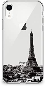 CasesByLorraine Compatible with iPhone XR Case, Paris Eiffel Tower Clear Transparent Flexible TPU Soft Gel Protective Cover for iPhone XR 6.1