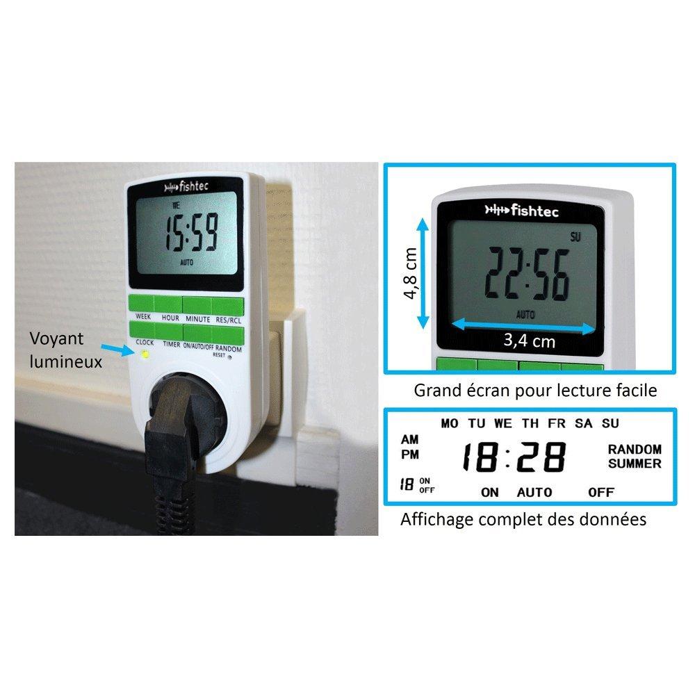 Grand /écran Economies d/énergie FISHTEC /® Prise Programmateur Digital 10 minuteries