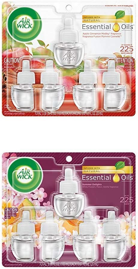 Air Wick Plug in Scented Oil 5 Refills, Apple Cinnamon Medley and Summer Delights, (5x0.67oz), Essential Oils, Air Freshener