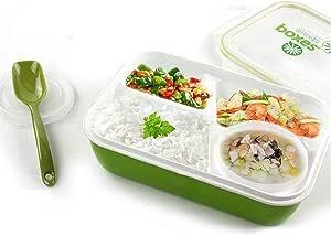Lunch Box Fiambrera A Prueba De Fugas Almuerzo Bento Seguro Para Microondas Envase De Alimento - 4 En 1-3 Compartimientos 1 Cuenco 1 Cuchara