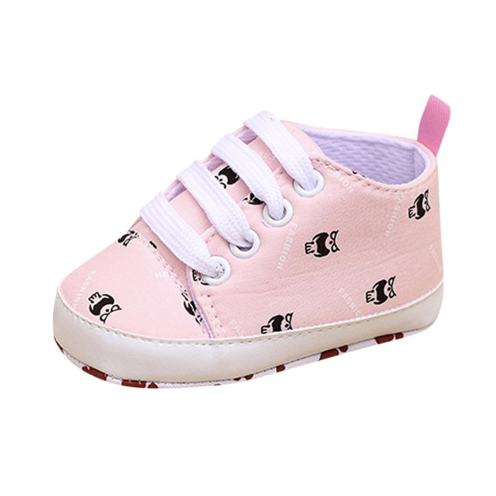 Voberry Cute Newborn Baby Girls Boys Lace Up Cartoon Print Sneakers Soft Sole Prewalker Infant Shoes