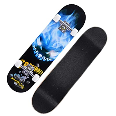 Children Skateboard Standard Skateboard, Fully Highly Flexible Mini Cruiser Board 31.4 inch Skateboard Suitable for Beginners or Professiona, 7-Layer A-Level Maple, 4 : Sports & Outdoors
