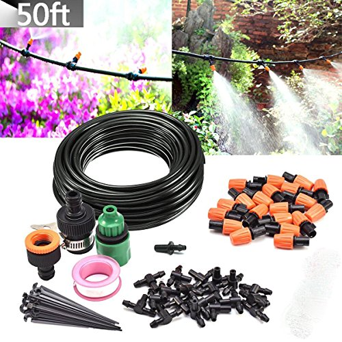 ZivaTech DIY 80FT 30 Nozzles Misting System Kit For Outdoor Patio Garden Greenhouse Reptile Mosquito Prevent - Plastic Mist Nozzle Misting System DIYMisting System Kit by ZivaTech