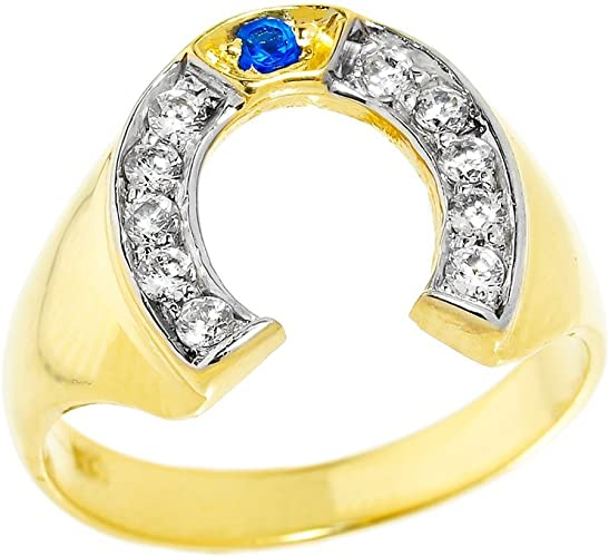 12 Jewel Tie Solid 14k Yellow Gold Mens Horse Shoe Lucky Horse Head Diamond-Cut Ring Size