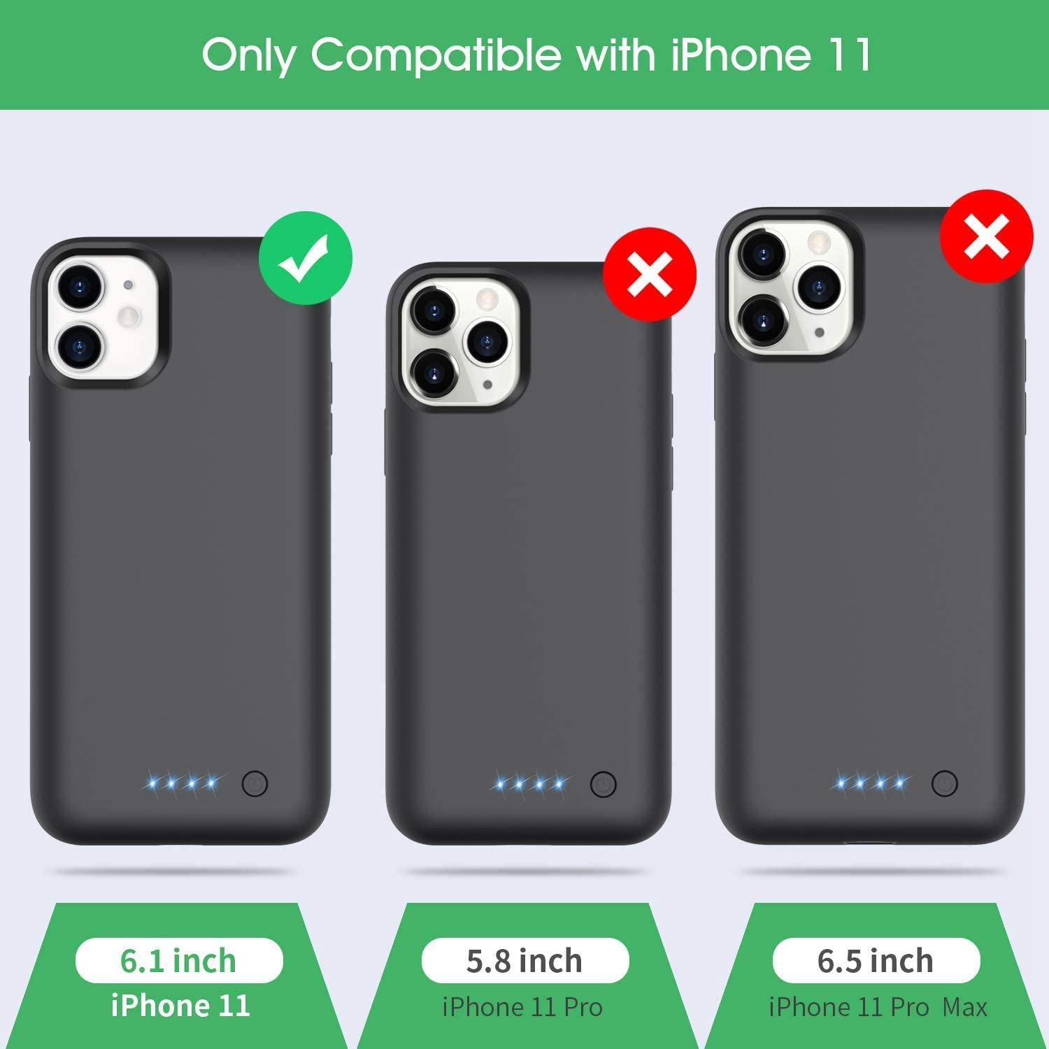 Xooparc Battery case for iPhone 11 6800mah Upgraded Charging Case Protective Portable Charger Case Rechargeable Extended Battery Pack for Apple iPhone 11 Charger case Backup Power Bank 6.1/'