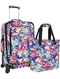 "U.S Travelers Lanford 2-Piece Luggage Set (19""/22""), Flower"