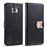 ZCDAYE Case for Samsung Galaxy S7 Edge,Luxury Bling Glitter [Magnetic Closure] PU Leather Flip Wallet [Love Diamond Buckle][Card Slots][Kickstand] Soft TPU Cover for Samsung Galaxy S7 Edge - Black
