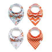 Baby Bandana Drool Bibs for Drooling and Teething Absorbent Organic Cotton Dribble Bib Cute for Boys and Girls Newborn with Adjustable Snap 4 Pack Gift Set