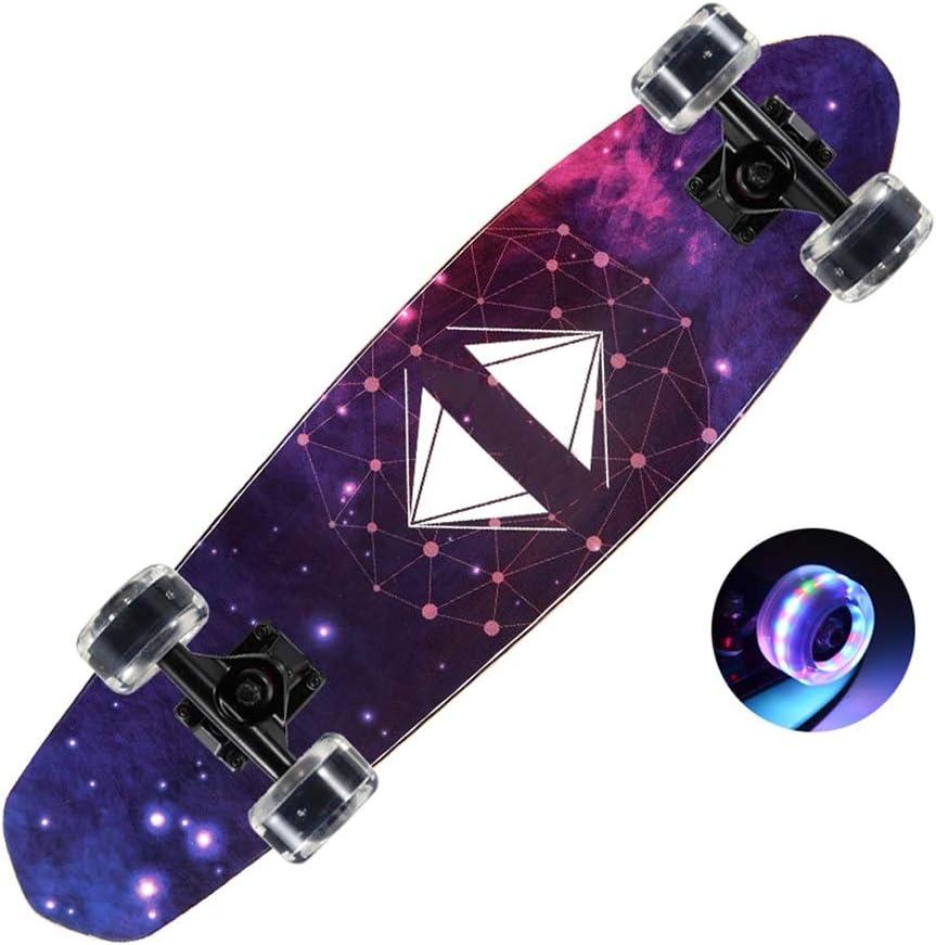 Sljj LEDが付いている青年68 * 19cmスケートボードは車輪、7層のかえでの完全なスケート板をつけます (Color : 紫の) 紫の