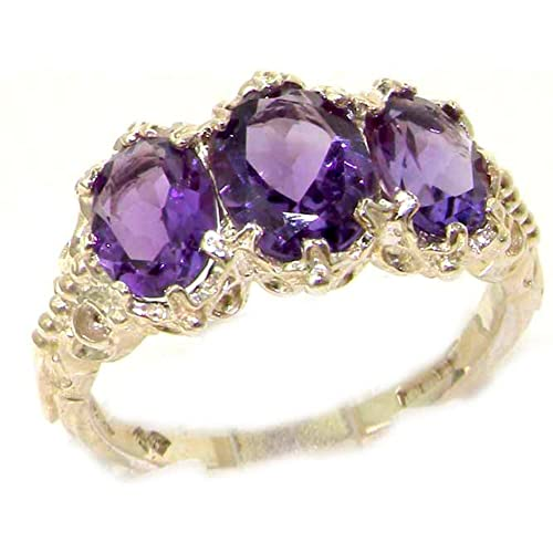 LetsBuyGold 14k White Gold Real Genuine Amethyst Womens Band Ring