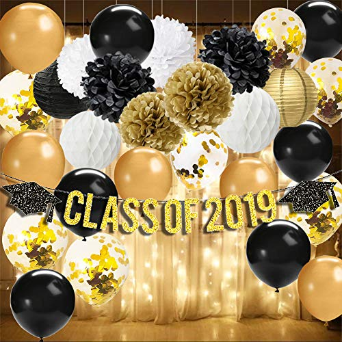 Graduation Decorations 2019-Class of 2019 Banner,Battery Powered LED String Lights Starry String Light,Tissue Pom Poms,Paper Lanterns,Black/Gold/Gold Confetti Balloons Graduation Party Supplies -