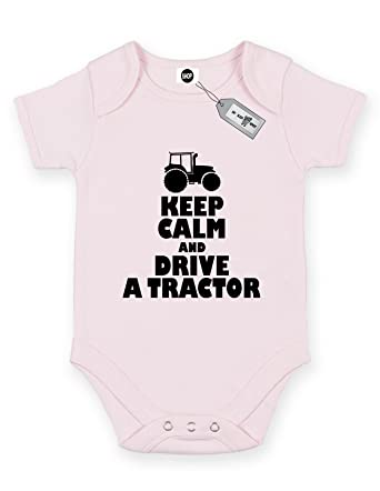 fb63bb45b737 Keep Calm And Drive a Tractor Short Sleeve Baby Bodysuit Babygrow ...