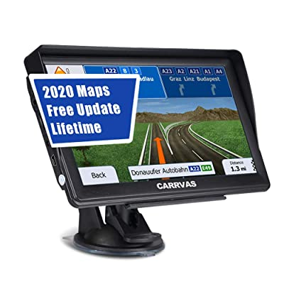 CARRVAS 7 Inch GPS Navigation for Car and Truck 2020 Version Americas Map & Voice Reported Highway Speed Camera & Poi Lane Assist, Supported Post Code, Favorites & Address Search: GPS & Navigation