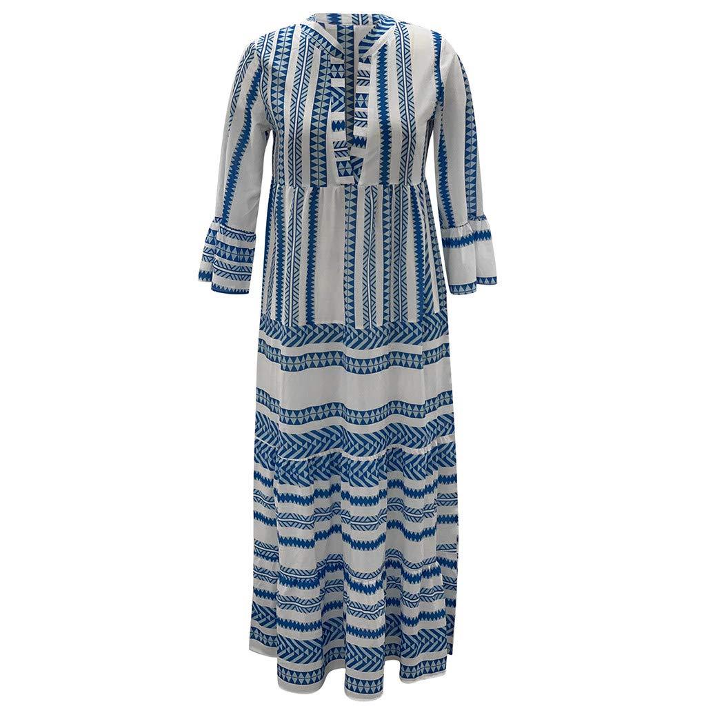 Women Boho V Neck Long Dress Summer Casual T-shirt Striped Flare Plain Ruffle Long Sleeve Maxi Holiday Beach Dresses (XX-Large, Blue) by LANTOVI Women Dress (Image #3)